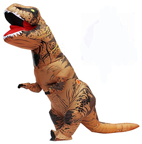 JF Deco Valentine Couple Halloween Adult Inflatable T Rex Dinosaur Party Costume Funny Dress Brown With Backpack & USB Cable