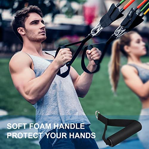 Mpow Resistance Bands Set, Resistance Bands with Handles (150LBS), 5 Stackable Exercise Bands with Door Anchor, Ankle Straps, Guide Book, Heavy Resistance Tube Bands, Portable Tube Band 8