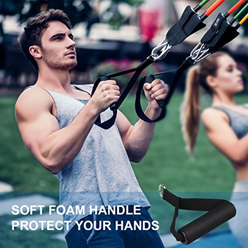 Mpow Resistance Bands Set, Resistance Bands with Handles (150LBS), 5 Stackable Exercise Bands with Door Anchor, Ankle Straps, Guide Book, Heavy Resistance Tube Bands, Portable Tube Band