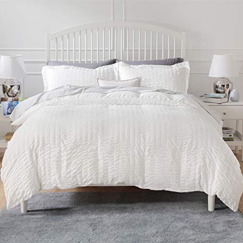 Bedsure Duvet Cover Set Twin Size (68 x 90 inches) - Seersucker Stripe - 2 Pieces (1 Duvet Cover + 1 Pillow Sham), White - Ultra Soft Microfiber - Duvet Covers with Zipper Closure, Corner Ties