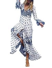 COMVIP Women Beach Bohemia Side Slit Bikini Cover Up Maxi Dress