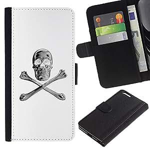 Be Good Phone Accessory // Caso del tirón Billetera de Cuero Titular de la tarjeta Carcasa Funda de Protección para Apple Iphone 6 PLUS 5.5 // White Silver Crossbones Skull Black