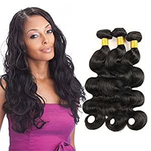 Virgin Indian Hair Bundles Indian Raw Hair Body Wave 3-pack Bundles 12 14 16 inch 10.58 Oz Total Natural Black Color Can be Dyed
