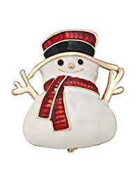 Charmed Craft Christmas Cute Snowman Brooch Pins Gold Tone Brooches Jewelry Gifts