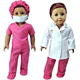 Complete 18 Inch Doll Doctor or Nurse 6 pc Set by Sophia's of White Doll Lab Coat, Face Mask. Fuchsia Shoe Covers, Cap & Scrubs. Perfect fit for American Girl Dolls and more! 6 Pc. Doll Doctor Set