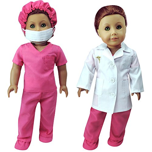 Complete 18 Inch Doll Doctor or Nurse 6 pc Set by Sophia's of White Doll Lab Coat, Face Mask. Fuchsia Shoe Covers, Cap & Scrubs. Perfect fit for American Girl Dolls and more! 6 Pc. Doll Doctor Set (Kids Nurses Outfit)