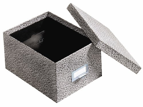 Globe-Weis Pendaflex Fiberboard Index Card Storage Box - 5 x 8 Inches - Black Agate (95 BLA)