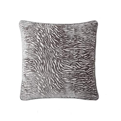 Morgan Home Decorative Textured Zebra Velvet Plush Throw Pillow Cushions Cover for Sofa Couch or Bed - 18 x 18 inches, 1 ()