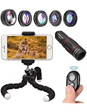 Apexel Phone Camera Lens Kit 18X Telephoto/Wide Angle&Macro Lens/Fisheye/Kaleidoscope Lens/Star Filter with Remote Shutter Tripod for iPhone Samsung and Most Smartphone