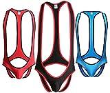 Leories Men's Jockstrap Leotard Underwear Jumpsuits Wrestling Singlet Bodysuit M 3-Pack