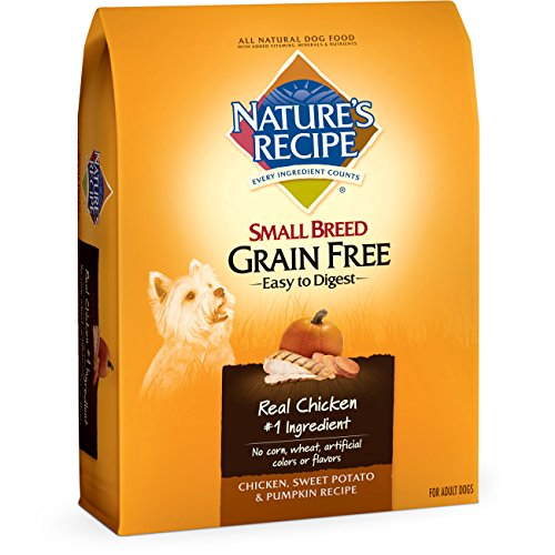Nature's Recipe Small Breed Grain Free Easy to Digest Dry Dog Food, Chicken, Sweet Potato & Pumpkin Recipe, 12-Pound
