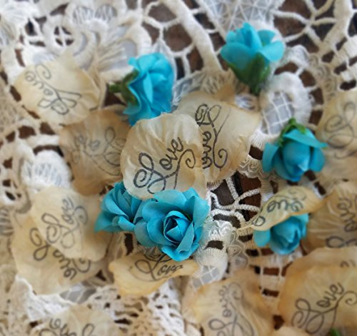 Flower Girl Basket petals, wedding Confetti, Decor, aqua rosebuds, Aisle rose petals, Wedding Rose Petals, Petal Decorations,Vintage table scatter,
