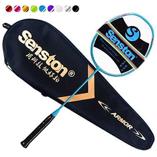 Cheap Senston N80 Graphite Single High-Grade Badminton Racquet,Professional Carbon Fiber Badminton Racket, Carrying Bag Included Blue Color