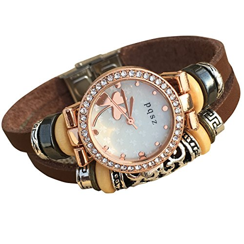 Women's Lady's Girl's Fashion Wrist Bracelet Watch with Genuine Leather Band Gift (Trefoil)]()