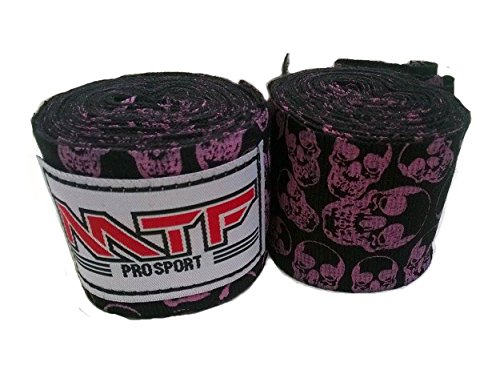MTF Hand Wraps Muay Thai Boxing MMA K1 Fitness Gear Color Skulls Black Size 180 inches Handwraps for Kickboxing Sport