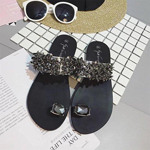 Frauen Flip Damen Flachen Schwarz Silber Sandalen LHWY Rutschen Sandalen Hausschuhe Schwarz Schuhe Flops Mädchen Sommer Strass IHxfCtwqF