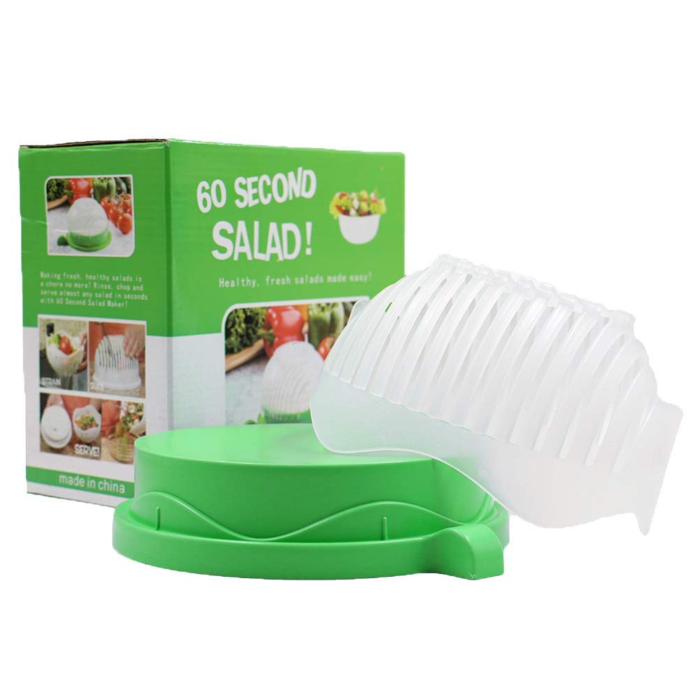 Salad Cutter Bowl 60 Seconds Easy Fresh Salad Cutter and Fast Fruit Vegetable Chopper Salad Maker by Accdata [Bonus Multi-Function Paring Knife] by Accdata (Image #7)