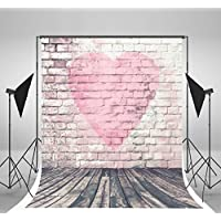 5x7ft White Brick Wall Photography Backdrops Pink Love Photo Backdrop Wood Floor Background for Baby Birthday Backgrounds