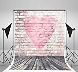 5x7ft White Brick Wall Photography Backdrops Pink Love Photo Backdrop Wood Floor Background for Lovers Valentine Photo or Birthday Backgrounds