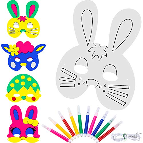 - Zhehao 16 Pieces DIY Animal Masks Blank Bunny Painting Mask Paper Bunny Glasses for Easter Party Costume with 10 Pieces Color Pens