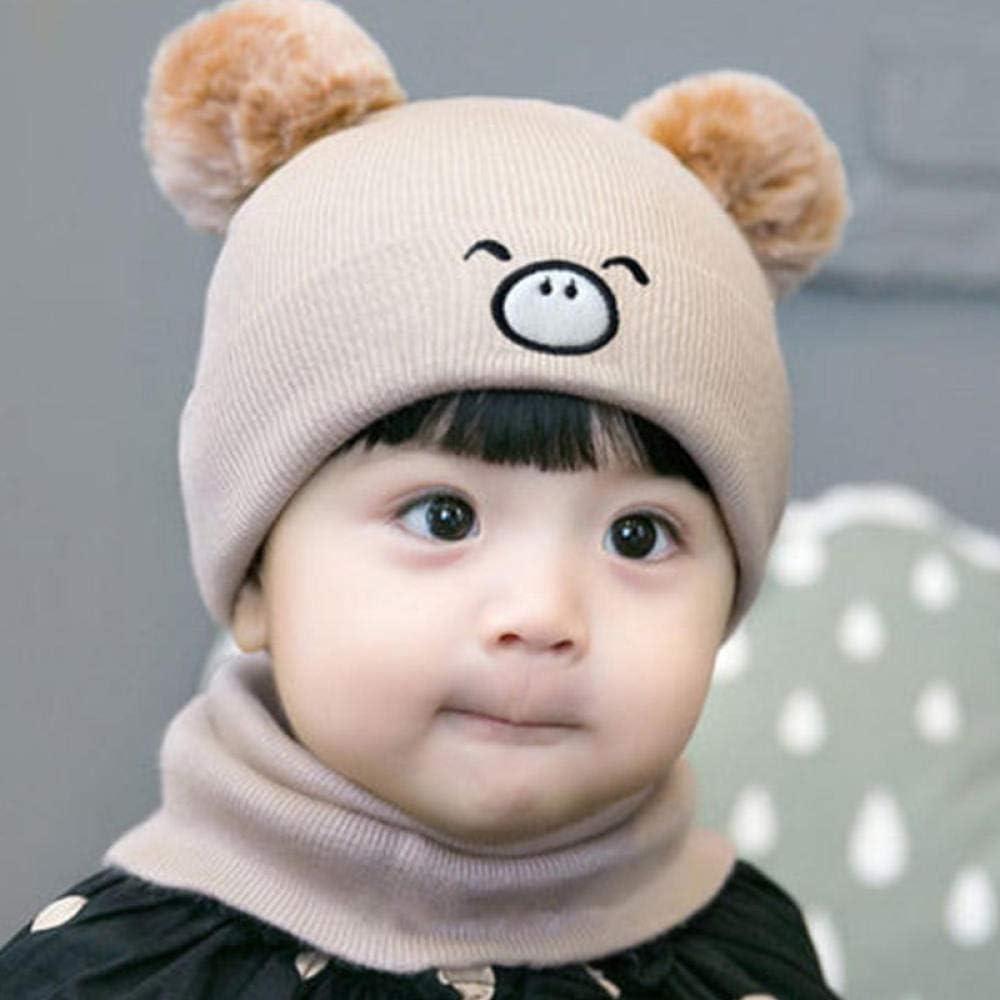 Aibccr Sombrero de bebé Bufanda otoño e Invierno recién Nacidos niños y niñas Gorro de Punto de bebé Gorro de Lana de Invierno Traje de Oso-Cerdito-Beige