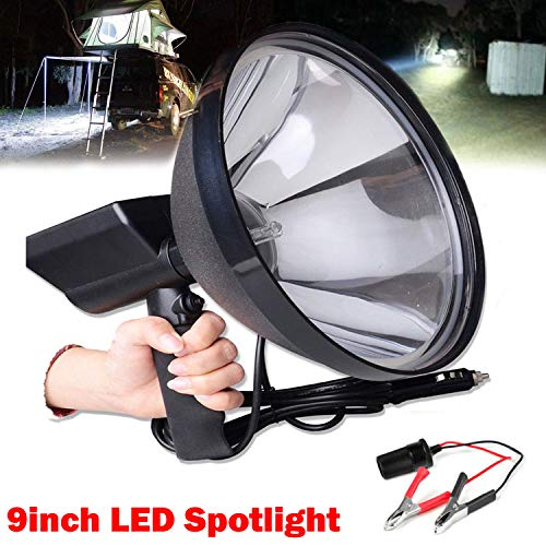 Spotlight Handheld High Power 100W 9 Inch 1.5 Mile Light Range Shooting Spot Light for Fishing Camping Hunting Off Road + Battery Conversion Clamps