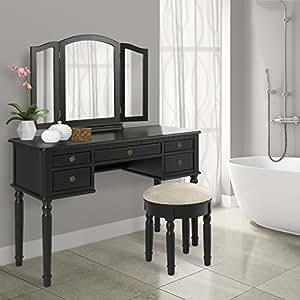 Bathroom Tri Mirror Vanity Set Makeup Table and Bench Hair Dressing Organizer, Black