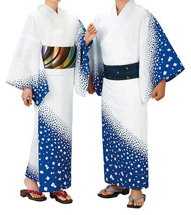 踊り衣裳 反物 大印 本絵羽ゆかた 白×青 メンズ レディース