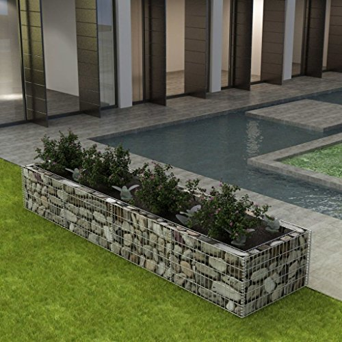 Festnight Gabion Planter Steel Fencing Wire Patio Flower Plant Bed Basket Stone Wire Garden Outdoor Landscape Galvanized Steel Walls Panels ()
