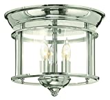 Hinkley 3473PN Traditional Three Light Flush Mount from Gentry collection in Chrome, Pol. Nckl.finish,