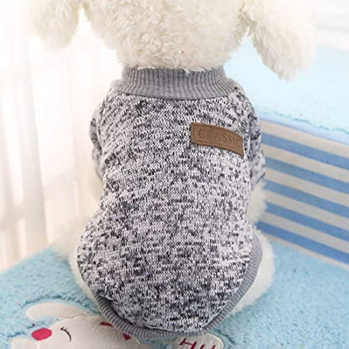 Idepet Pet Dog Classic Knitwear Sweater Fleece Coat Soft Thickening Warm Pup Dogs Shirt Winter Pet Dog Cat Clothes Puppy Customes Clothing for Small Dogs (Read The Size Chart First) 50