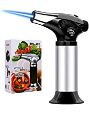 QIBOX Butane Torch, Refillable Culinary Blow Torch, Mini Kitchen Cooking Torch Lighter with Safety Lock & Adjustable Flame for BBQ, Creme Brulee, Baking, Crafts (Butane Gas not Included)