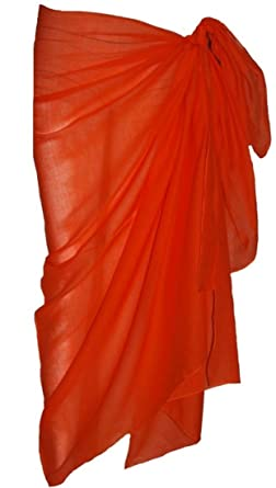 027253fade014 Plain Orange Cotton Sarong: Amazon.co.uk: Clothing