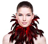 ZAKIA Gothic Natural Real Feather Choker Necklace Neck Wrap Collar Halloween Accessory (Red)