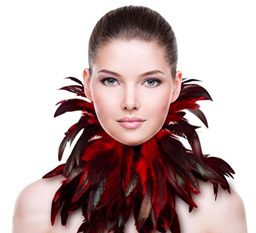 ZAKIA Gothic Natural Real Feather Choker Necklace Neck Wrap Collar Halloween Accessory (Red) -