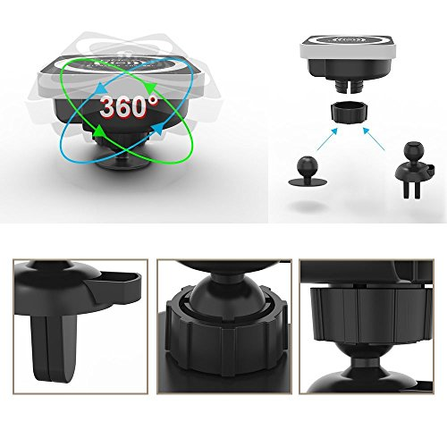 Magnetic Wireless Car Charger, DOCA Magnet QI Wireless Car Charger Mount Holder with Air Vent for iPhone X iPhone 8/8 Plus Galaxy Note 8 S8/S8 Plus S7 Edge and Any QI Enabled Phones by DOCA (Image #5)