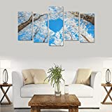 Modern Landscape Art Winter Nature Snow Sky Love Trees Unique Canvas Print Home Bedroom Personality Mural Decoration 5 Piece Canvas painting (No Frame)