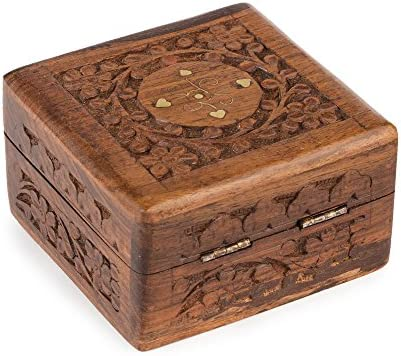 Rusticity Joyero de madera, decorativo, hecho a mano, 10 x 10 cm ...