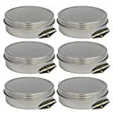 6 Pack of Mighty Gadget (R) Screw Top Round Steel Tin Cans (2 oz)
