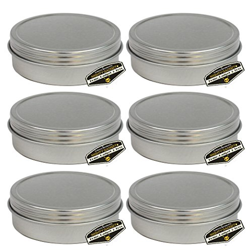 6 Pack of Mighty Gadget (R) Screw Top Round Steel Tin Cans (2 oz) (Box Round Tin)