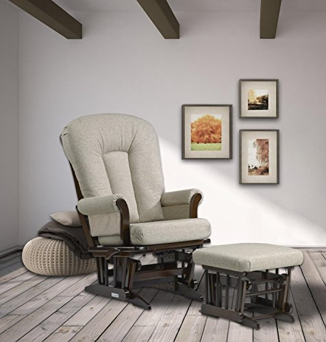 Dutailier Sleigh Glider-Multiposition, Coffee/Harvest Beige, Recline and Ottoman Set by Dutailier