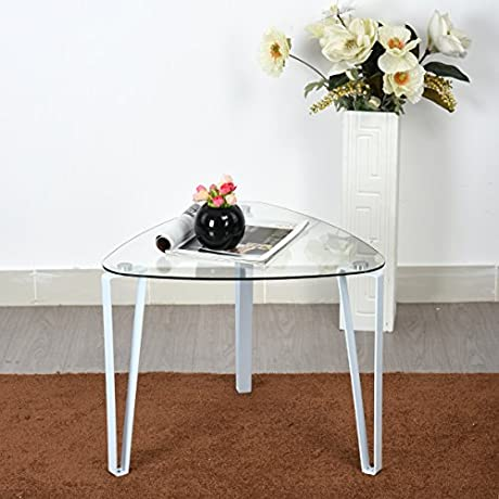 White Metal Glass Top Side End Table