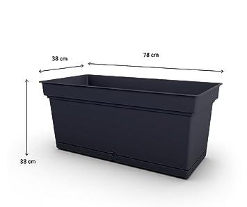 Kreher XXL Pflanzkasten in rechteckigem Format, zeitlos schlichtem Design und 66 Liter Nutzvolumen. Mit abnehmbaren Wasserspe