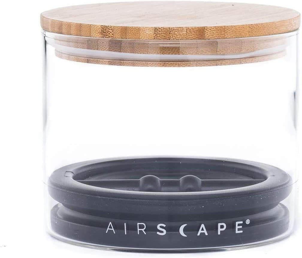 Airscape Food Storage Canister - Patented Airtight Lid Preserves Food Freshness, Glass Storage w/Bamboo Lid, Small 4-Inch