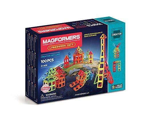 Magformers Landmark Set (100-Pieces) Rainbow Colors Magnetic    Building      Blocks, Educational  Magnetic    Tiles Kit , Magnetic    - Set Landmark