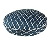 Extra Large Blue White Trellis Pattern Dog Bed, Beautiful Modern Geometric Textured Print Pet Bedding, Round Shape, Features Water, Fade Resists, Removable Cover, Soft & Comfy Design, Plush Polyester