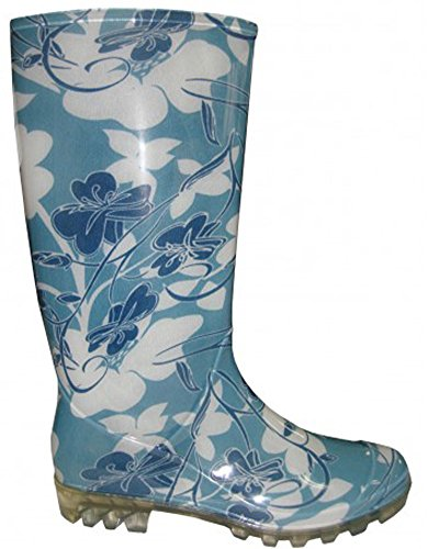 8 Garden and Women's Blue M US EasyUSA Rubber Rain Floral Black Solid Boot Shiny B AwY0zZ