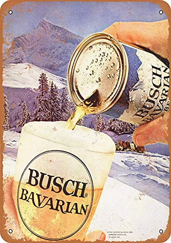 Iliogine 1962 Busch Bavarian Beer Room Sign Wall Art Decor Aluminum Tin Sign Vintage 8 x 12 -