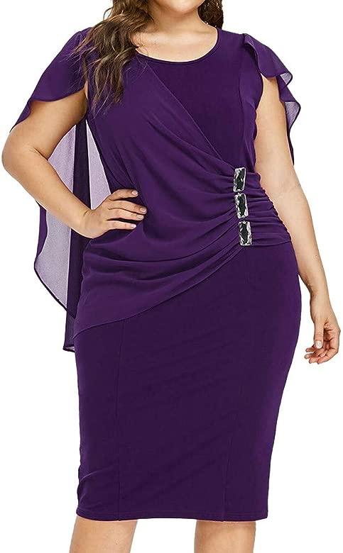 MERICAL Falda Pantalon Mujer Vestir Moda Mujer Casual Gasa más tamaño sólido O-Cuello sin Mangas Vestido Suelto