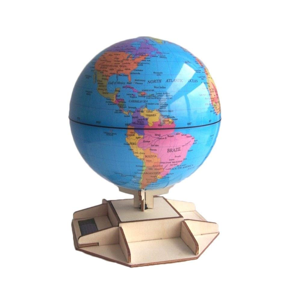 SLS LIFE Automatic Rotating Globe Student Teaching Model DIY Solar Assembled Rotating Globe ( Color : Multi-Colored , Size : M )